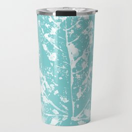 Fig Leaf Print in Teal Travel Mug