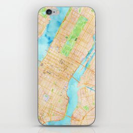 New York City watercolor map iPhone Skin