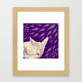 Fennec Fox Feather Dreams in Purple Grape Framed Art Print