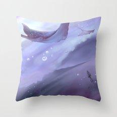 Drop in a purple ocean Throw Pillow