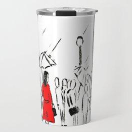 The Girl In The Red Rain Coat (Part 1)  Fine Art Acrylic Painting Travel Mug