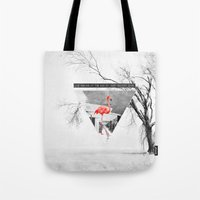 flamingo Tote Bags featuring Flamingo by Mehdi Elkorchi