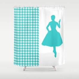 Turquoise Modern Houndstooth w/ Fashion Silhouette Shower Curtain