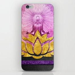 Crown Chakra Meditation & Gold Metallic Lotus iPhone Skin