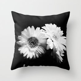 Flowers in Black and White - Nature Vintage Photography Throw Pillow