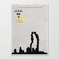 500 days of summer Canvas Prints featuring 500 Days of Summer by Ayse Deniz