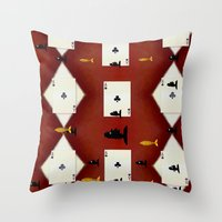 poker Throw Pillows featuring Poker Sharks by Pepita Selles