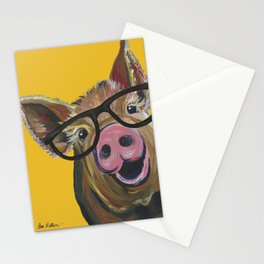 Pig with Glasses Art, Farm Animal, Cute Pig Art Stationery Cards