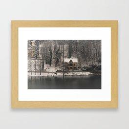 House On Lake Bled Framed Art Print
