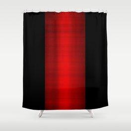 Red Metallic & Black Striped Border Shower Curtain
