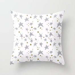 Stars and gold pattern Throw Pillow