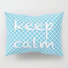 "Grid pattern. Text: ""keep calm» Pillow Sham"