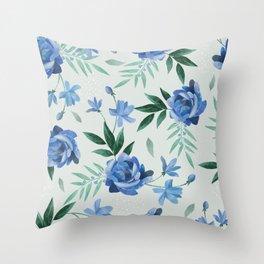Paper-cut floral denim Throw Pillow