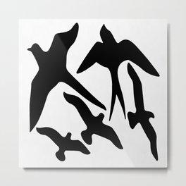 Birder Silhouette Swallow Swift and Seagulls Metal Print