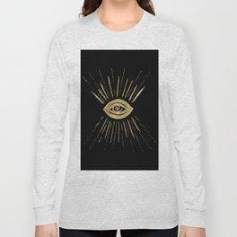 Evil Eye Gold on Black #1 #drawing #decor #art #society6 Long Sleeve T-shirt
