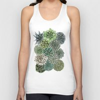 succulents Tank Tops featuring An Assortment of Succulents by ECMazur