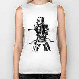 Vintage Motion Picture Film Camera Graphic Biker Tank