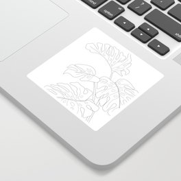 Line Art Monstera Leaves Sticker