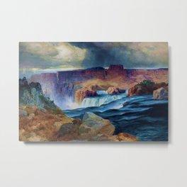Horseshoe Falls, Snake River, Idaho waterfall landscape painting by Thomas Moran Metal Print