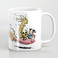 rocket raccoon Mugs featuring Let's Go Exploring! (Rocket Raccoon & Groot & Calvin & Hobbes mashup) by Adifitri