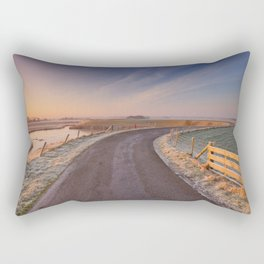 I - Typical Dutch landscape with a dike, in winter at sunrise Rectangular Pillow