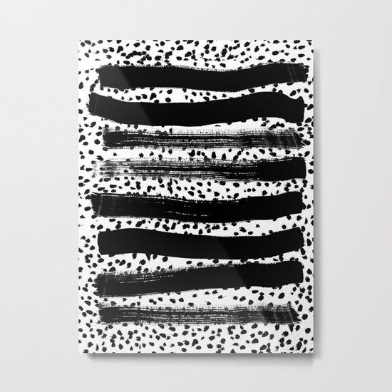 Iver - black and white minimal painting abstract art brooklyn trendy urban street city art work  Metal Print