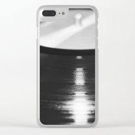 Record (Black and White) Clear iPhone Case