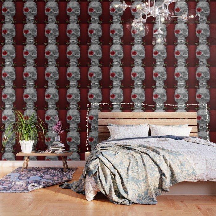 Skull And Roses 2 Skull Art Sugar Skull Wall Art Wallpaper By Chetdembeck