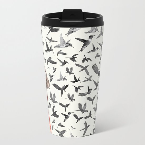 Barcelona Summer Bird Lady Metal Travel Mug