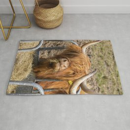 Cute hungry ginger Scottish Highland cow Rug