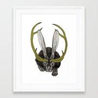 jackalope Framed Art Prints featuring Jackalope by Justin McElroy