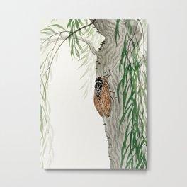 Cicada on a weeping willow tree - Japanese vintage woodblock print Metal Print