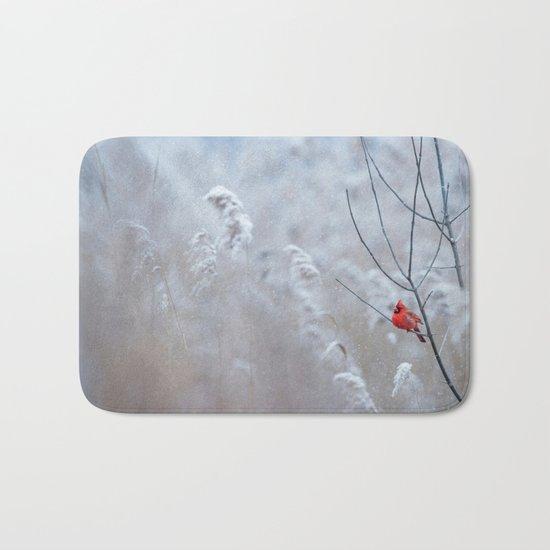 cardinal bird in winter Bath Mat