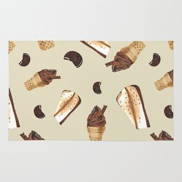 Seamless pattern: ice cream, cheesecake, cookie Rug