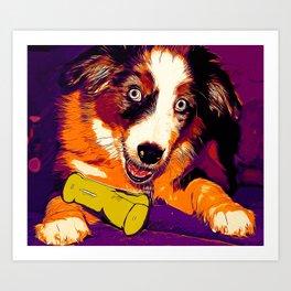 australian shepherd aussie dog puppy vector art late sunset Art Print
