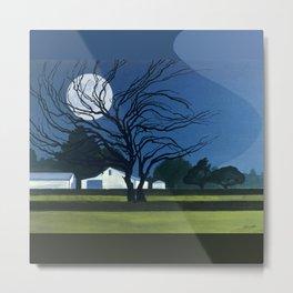 The Farm By Moonlight Metal Print