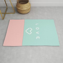 Paper love on mint green Rug