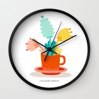 cup Wall Clocks featuring Cup by Mi Jardín Secreto