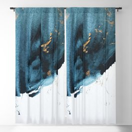 A Minimal Sapphire and Gold Abstract piece in blue white and gold by Alyssa Hamilton Art  Blackout Curtain