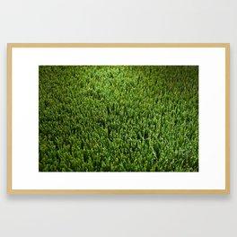 Abstract background artificial green grass Framed Art Print