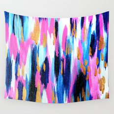 Spring Golden - Pink and Navy Abstract Wall Tapestry