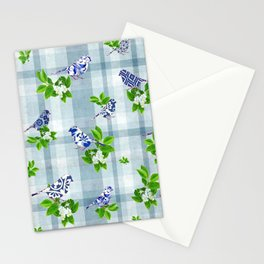 Blue Bird Plaid Stationery Cards