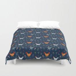 Little Hens (blue) Duvet Cover