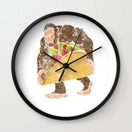 """Bigfoot With A Taco Funny Distressed Cinco De Mayo T-Shirt "" Wall Clock"