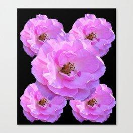 Cerise Pink Roses On Black Art Design Canvas Print