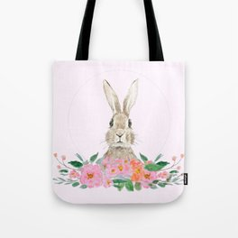 rabbit and pink camellia flower Tote Bag