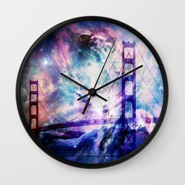 ultra violet golden gate bridge Wall Clock