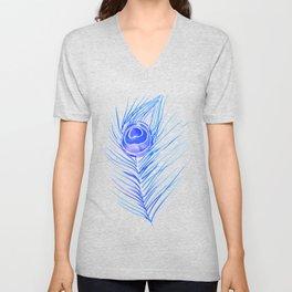 Peacock Feather – Blue Palette Unisex V-Neck