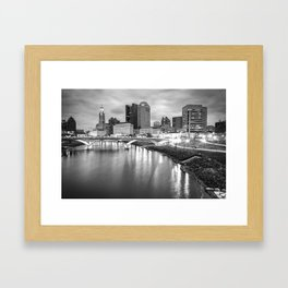 Columbus Ohio Skyline BW Contrasts Framed Art Print