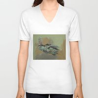 sea turtle V-neck T-shirts featuring Sea Turtle by Michael Creese